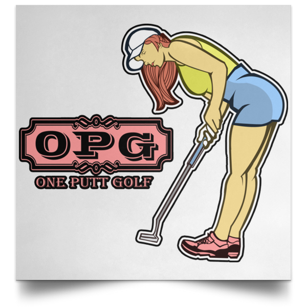 OPG Custom Design #7. One Putt Golf Brand. Female Golfer. Golf. Satin Square Poster