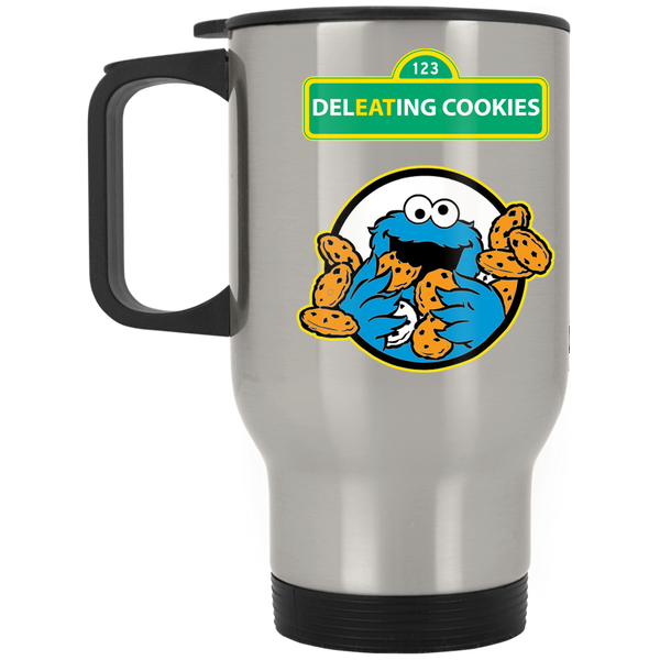 ArtichokeUSA Custom Design #58. DelEATing Cookes. IT humor. Cookie Monster Parody. Silver Stainless Travel Mug