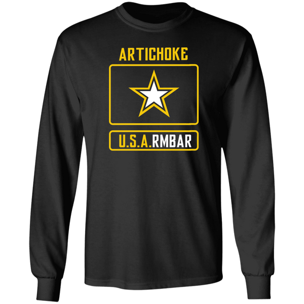 ArtichokeUSA Custom Design #54. Artichoke USArmbar. US Army Parody. 100% Cotton Long Sleeve T-Shirt
