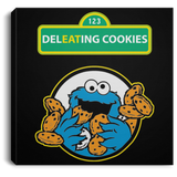 ArtichokeUSA Custom Design #58. DelEATing Cookes. IT humor. Cookie Monster Parody. Square Canvas .75in Frame