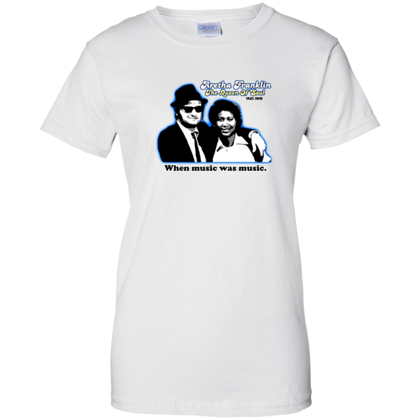 ArtichokeUSA custom design #41. Aretha Franklin/Jonn Belushi Blues Bros Fan Art Tribute. TV Music Movies. Gildan Woman's 100% Cotton T-Shirt