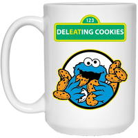 ArtichokeUSA Custom Design #58. DelEATing Cookes. IT humor. Cookie Monster Parody. 15 oz. White Mug