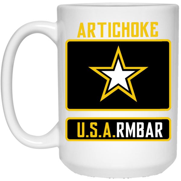 Artichoke Fight Gear Custom Design #8. ArtichokeUSArmbar. US Army Parody. 15 oz. White Mug