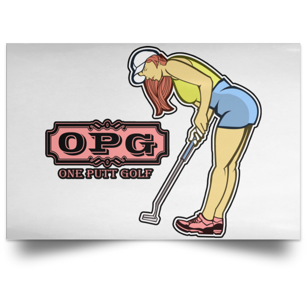 OPG Custom Design #7. One Putt Golf Brand. Female Golfer. Golf. Satin Landscape Poster