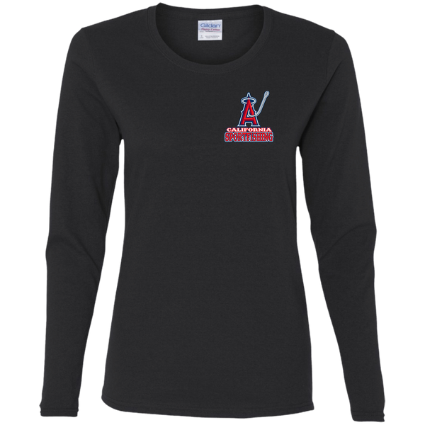 ArtichokeUSA Custom Design #4. Anglers. Southern California Sports Fishing/ Angels Parody. Ladies' 100% Cotton Long Sleeve T-Shirt