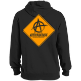 ArtichokeUSA Custom Design #7. Artwork Ahead. 24901 Miles Ahead (Distance around the world). Road Work Ahead Sign Parody. Tall Pullover Hoodie