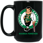 ArtichokeUSA Custom Design #12. RIP Kobe. Mamba Forever. Celtics Fan Art Tribute. 15 oz. Black Mug