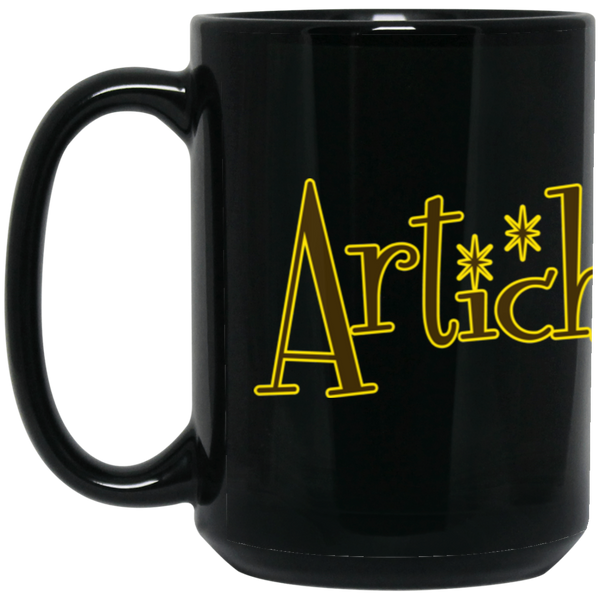 ArtichokeUSA custom design with text #18. 15 oz. Black Mug