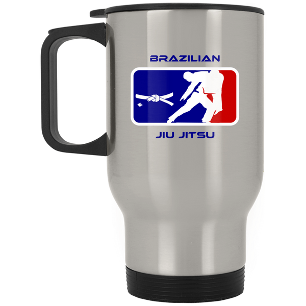 Artichoke Fight Gear Custom Design #2. BJJ MLB Parody v1. Silver Stainless Travel Mug