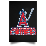 ArtichokeUSA Custom Design #4. California Anglers.California Sportsfishing. Angels of Anaheim from Orange County in California Parody. Satin Portrait Poster