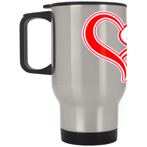 ArtichokeUSA custom design #50. 9ers Love. SF 49ers parody. Sports. Silver Stainless Travel Mug