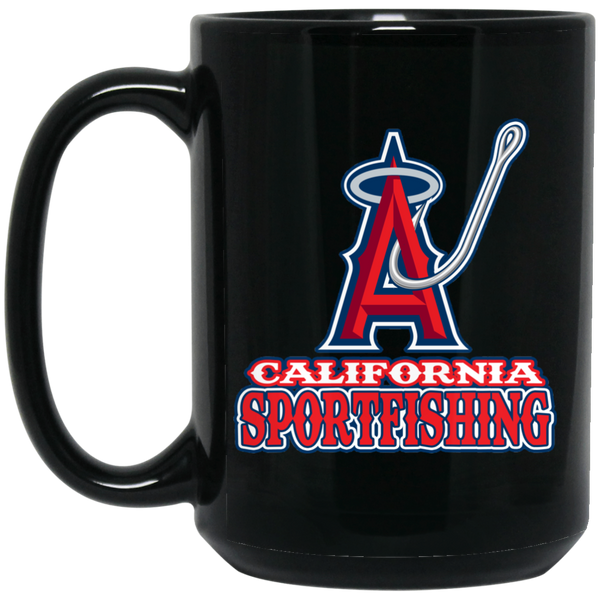 ArtichokeUSA Custom Design #4. California Anglers.California Sportsfishing. Angels of Anaheim from Orange County in California Parody. 15 oz. Black Mug