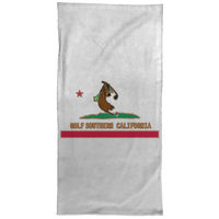 OPG Custom Design #9. Golf Southern California. California State Flag / Yogi Bear Playing Golf Parody. Hand Towel - 15x30