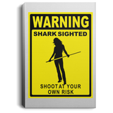 The GHOATS custom design #36. Shark Sighted. Female Pool Shark. Shoot At Your Own Risk. Pool / Billiards. Portrait Canvas .75in Frame