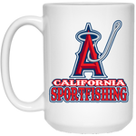 ArtichokeUSA Custom Design #4. California Anglers.California Sportsfishing. Angels of Anaheim from Orange County in California Parody. 15 oz. White Mug