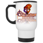 ArtichokeUSA Character and Font Design #1. Let's Create Your Own Design Today. 14 OZ White Travel Mug