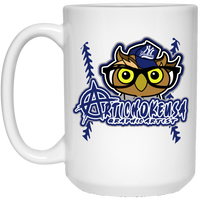 ArtichokeUSA Character and Font design #3. Yankees Owl. NY Yankees Fan Art. Let's Create Your Own Design Today. 15 oz. White Mug