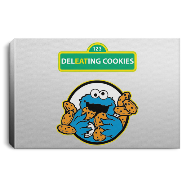 ArtichokeUSA Custom Design #58. DelEATing Cookes. IT humor. Cookie Monster Parody. Landscape Canvas .75in Frame