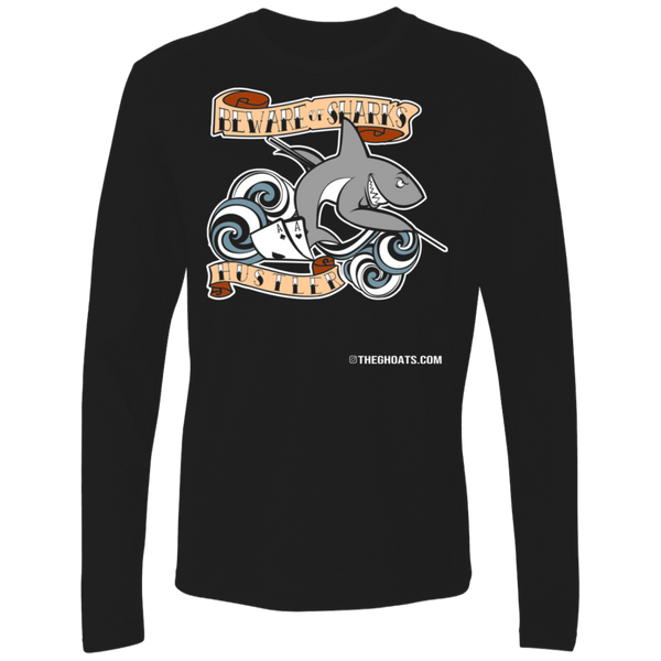The GHOATS Custom Design #3. Beware of Sharks. Pool/Card Shark. Ultra Soft Fitted Men's Long Sleeve