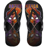 ArtichokeUSA Character and Font Design #1. Let's Create Your Own Design Today. Adult Flip Flops