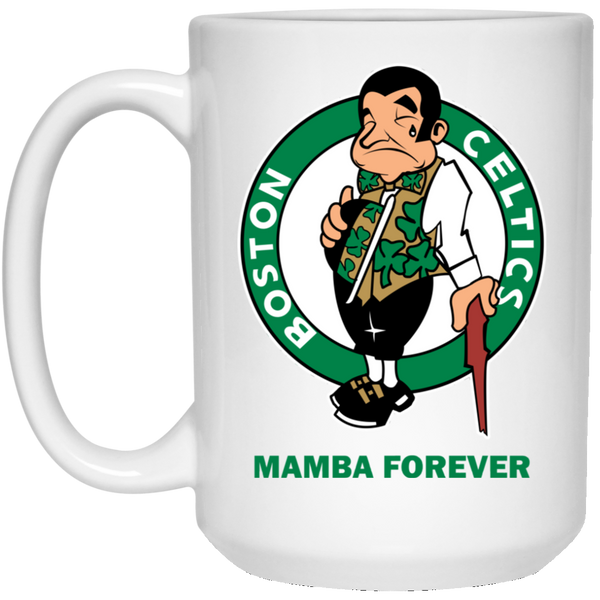 ArtichokeUSA Custom Design #12. RIP Kobe. Mamba Forever. Celtics Fan Art Tribute. 15 oz. White Mug