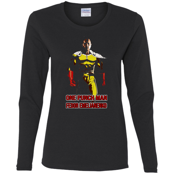 ArtichokeUSA Custom Design #58. One Punch Fedor Emelianenko. One Punch Man Parody. Ladies' 100% Cotton Long Sleeve T-Shirt
