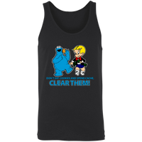 ArtichokeUSA Custom Design #14. IT Humor. Don't Eat Cookies And Spend Cache! Delete Them! Cookie Monster and Richie Rich Fan Art/Parody. 2 Tone Tank
