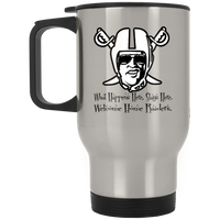 ArtichokeUSA Custom Design #32. Las Vegas Raiders Parody Logo. What happens here, stays here. Fan Art. Sports. Silver Stainless Travel Mug