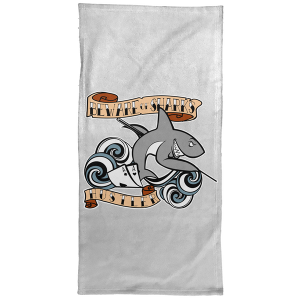 The GHOATS custom design #4. Beware of Sharks. Deisgned for my Dad, the best Pool and Card Shark out there. Let's create something for someone you know. Pool/Billiards. Hand Towel - 15x30