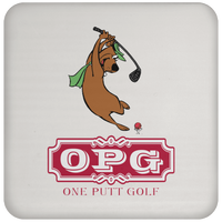 OPG Custom Design #9. Golf Southern California. California State Flag / Yogi Bear Playing Golf Parody. Coaster