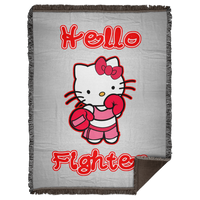 Artichoke Fight Gear Custom Design #13. Hello Fightter. Hello Kitty Parody. MMA.  Woven Blanket - 60x80