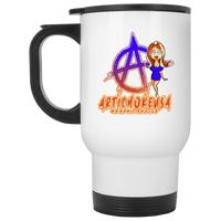 ArtichokeUSA Character and Font Design #2. Friends, Clients, and People of Earth. 14 OZ White Travel Mug