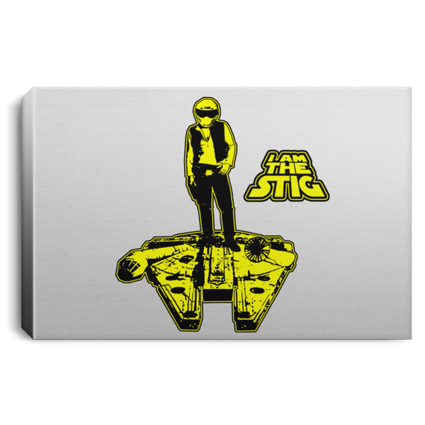 ArtichokeUSA Custom Design #39. Solo Stig - Stig/Star Wars Parody. TV Music Movies. Landscape Canvas .75in Frame