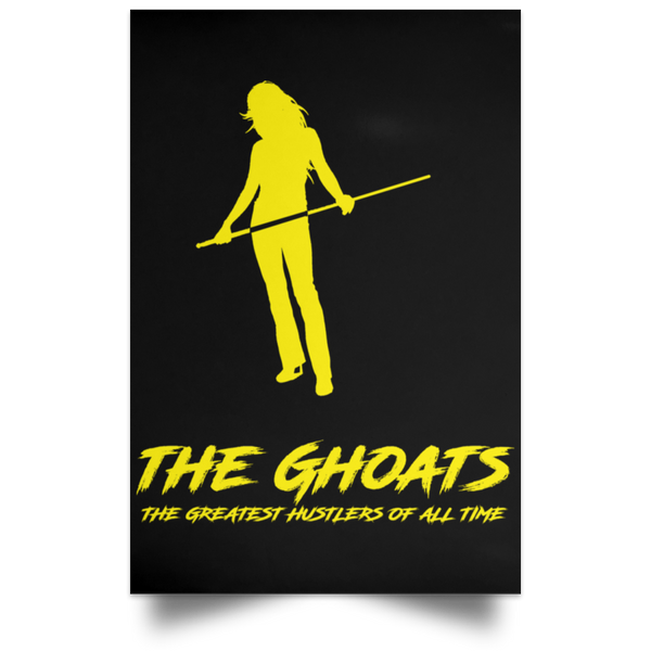 The GHOATS custom design #36. Shark Sighted. Female Pool Shark. Shoot At Your Own Risk. Pool / Billiards. Satin Portrait Poster