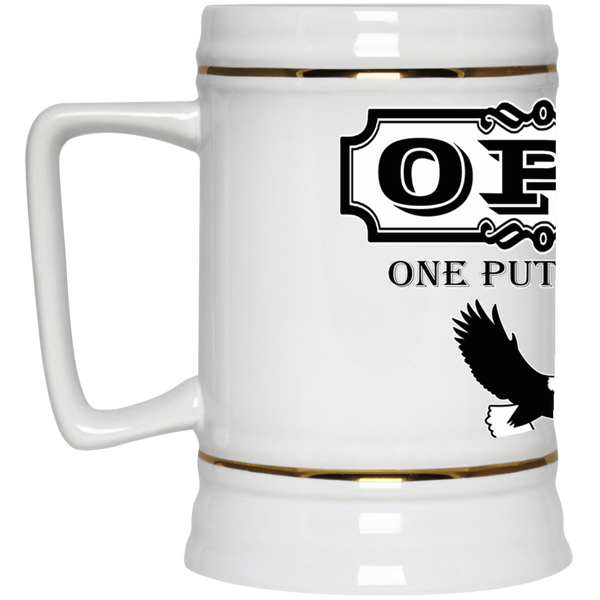 OPG Custom Design #0. OPG - One Putt Golf.  Front and Back Design. Beer Stein 22oz.