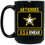 Artichoke Fight Gear Custom Design #8. ArtichokeUSArmbar. US Army Parody. 15 oz. Black Mug