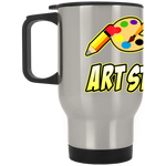 ArtichokeUSA custom design #6. Art Strong. Silver Stainless Travel Mug