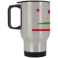 OPG Custom Design #8. Golf Southern California. All Year Long Baby!! Silver Stainless Travel Mug