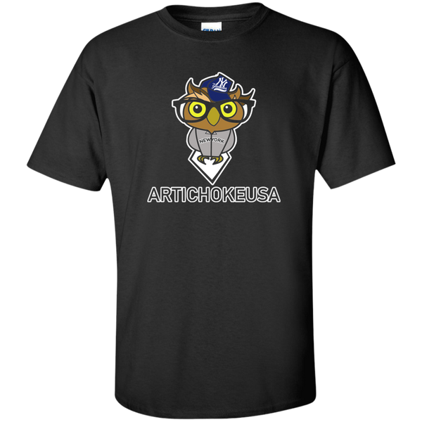 ArtichokeUSA Character and Font design #3. Yankees Owl. NY Yankees Fan Art. Let's Create Your Own Design Today. Tall 100% Cotton T-Shirt
