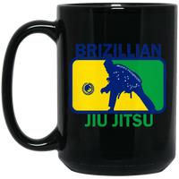 Artichoke Fight Gear Custom Design #5. BJJ MLB Brazil Flag Colors. Parody v2. 15 oz. Black Mug