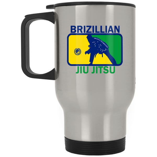 Artichoke Fight Gear Custom Design #5. BJJ MLB Brazil Flag Colors. Parody v2. Silver Stainless Travel Mug