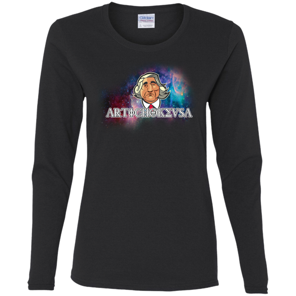 ArtichokeUSA Character and Font design #19. Michio Kaku Fan Art. Let's Create Your Own Design Today. Ladies' Cotton LS T-Shirt