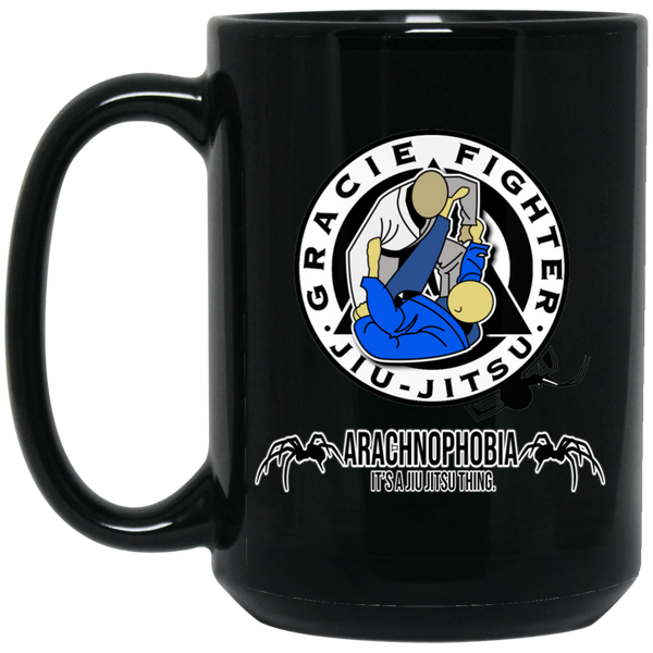 Artichoke Fight Gear Custom Design #1. Arachnophobia. It's A Jiu Jitsu Thing. Spider Guard. BJJ. 15 oz. Black Mug