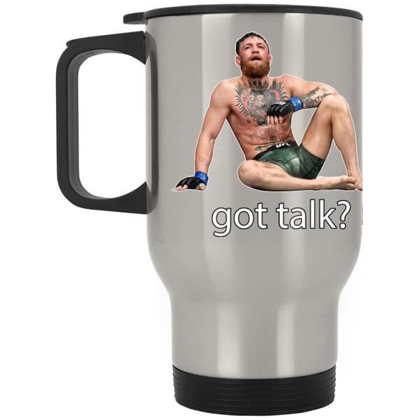 Artichoke Fight Gear Custom Design #12. Got Talk? MMA.  Silver Stainless Travel Mug