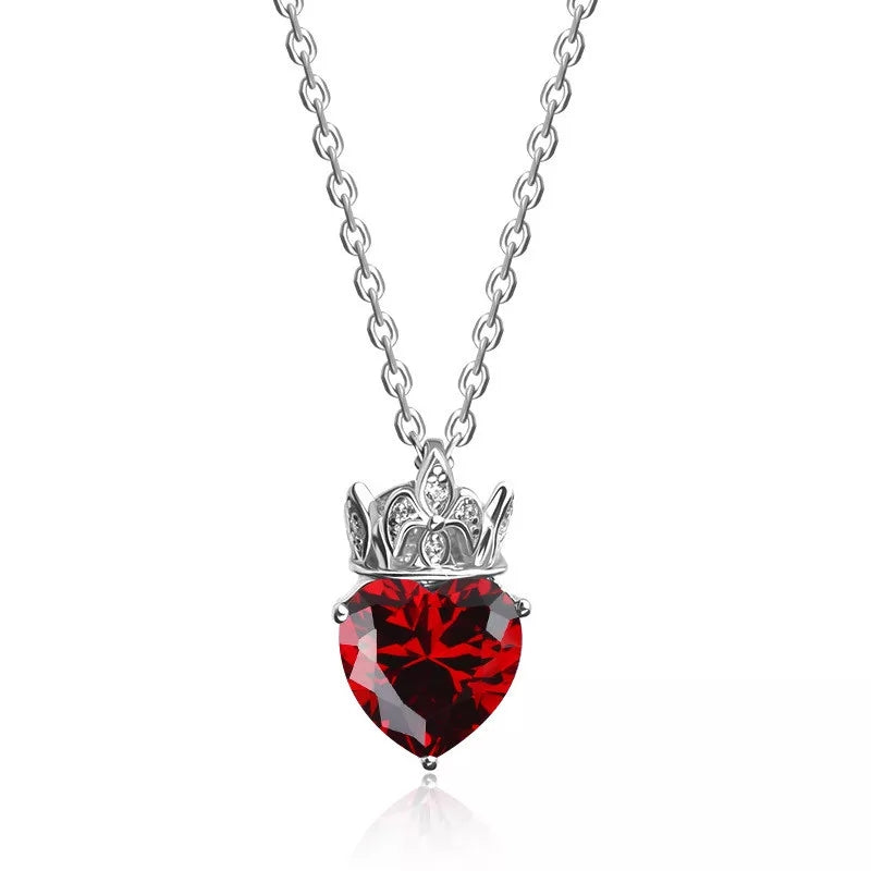 S925 sterling silver red crystal pendant necklace women jewelry
