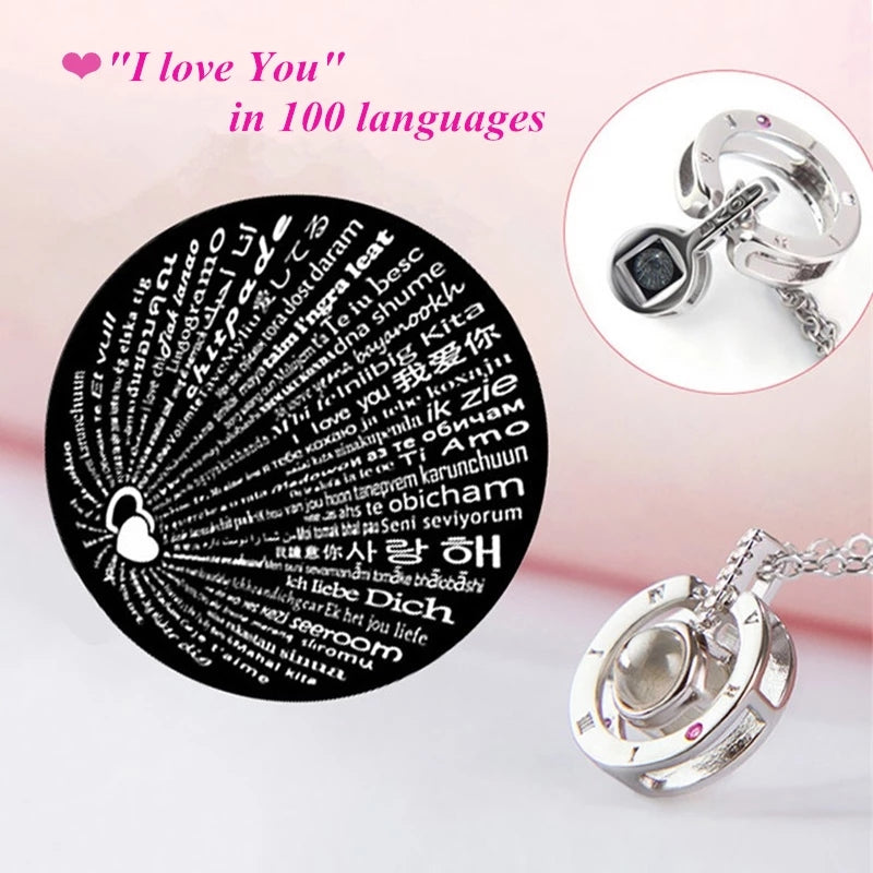 "S925 Sterling Silver ""I Love You in 100 Languages"" Round Pendant"