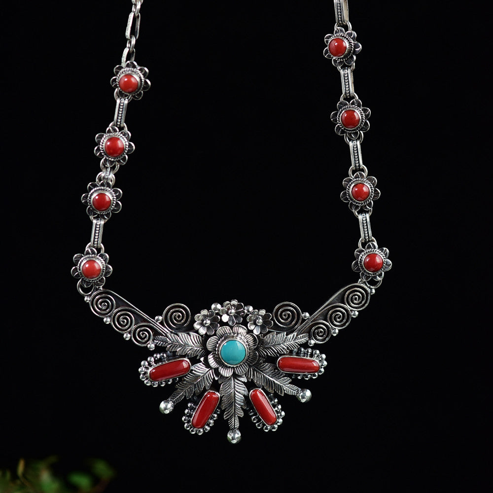 Nepal style S925 sterling silver Necklace Coral Turquoise