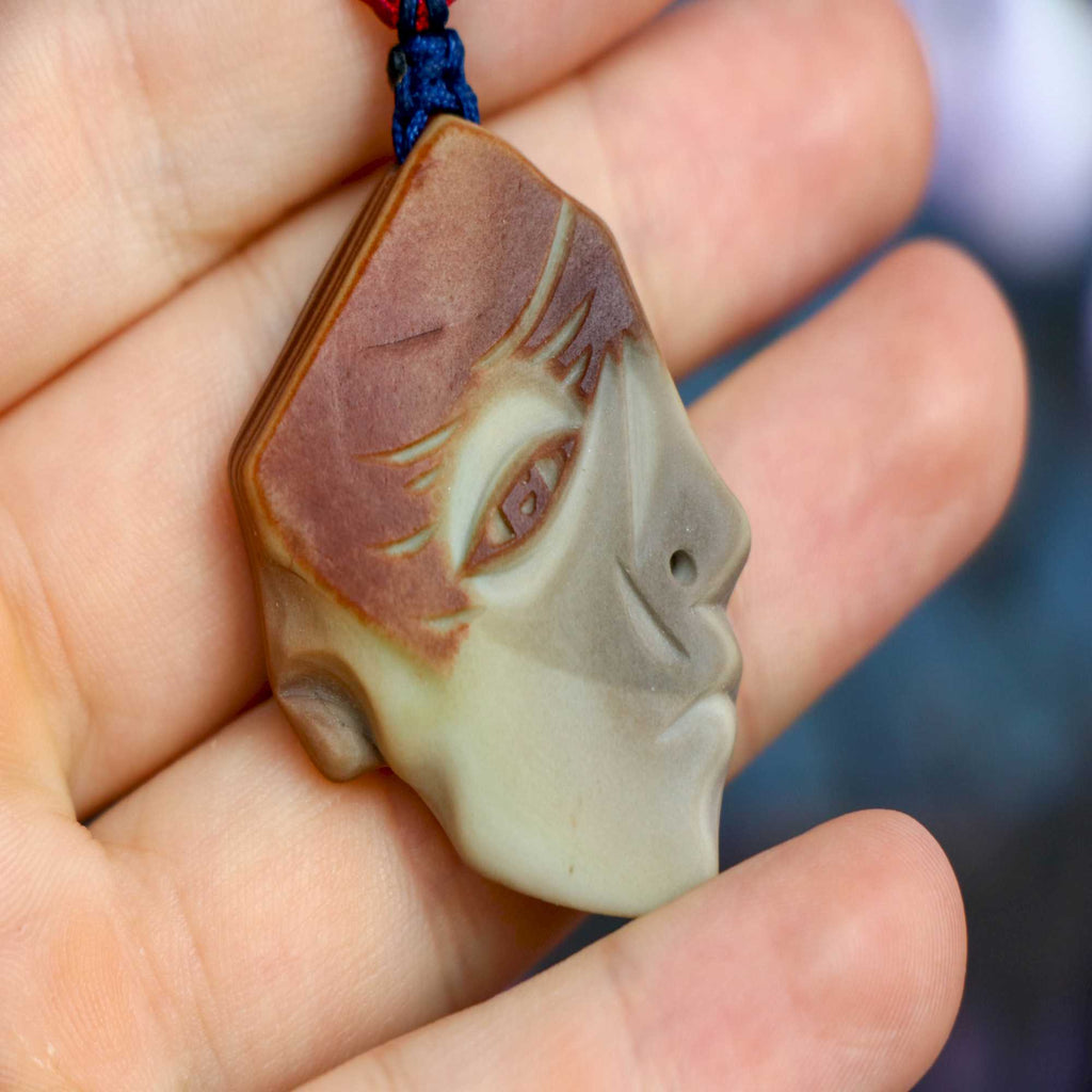 """Robert"" Natural Agate Face Pendant 