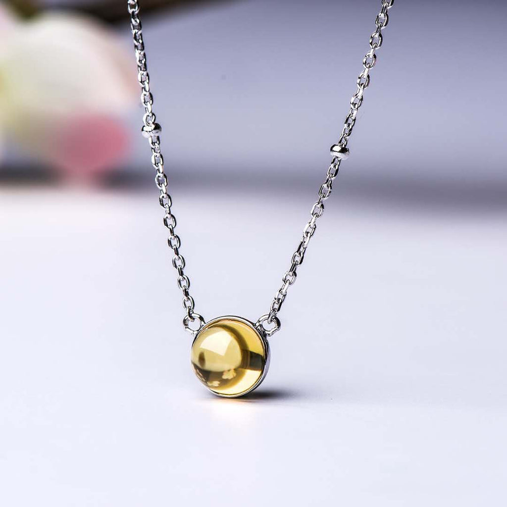 S925 Real Citrine Necklace-Woman Necklace-Bemine.Jewelry