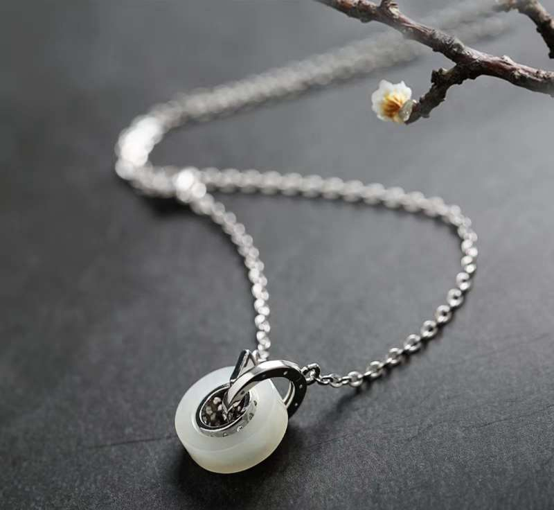 Sterling Silver White Jade Collarbone Necklace